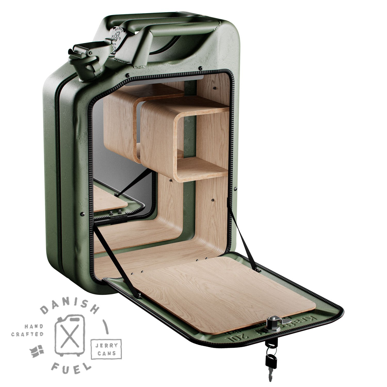 Danish Fuel Bar Cabinet - Army Green